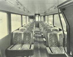 An interior view of new blue tramcar